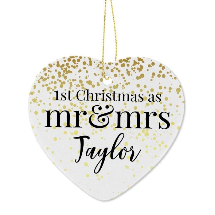 Personalised Mr and Mrs 1st Christmas Ceramic Heart Decoration-Hanging Decoration-Give Personalised Gifts