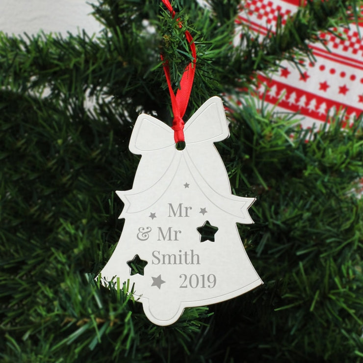 Personalised Mr & Mr Bell Tree Decoration-Hanging Decoration-Give Personalised Gifts