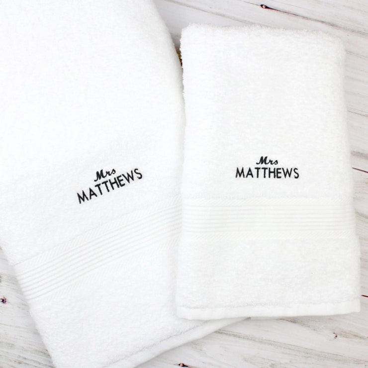 Personalised 'Mrs' White Hand and Bath Towel Set-Towel-Give Personalised Gifts