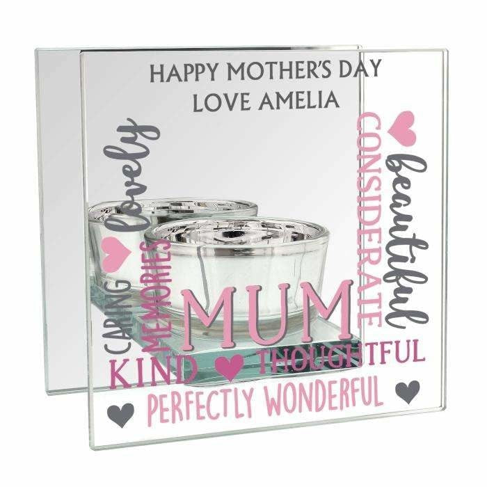 Personalised Mum Mirrored Glass Tea Light Holder-Candles & Holder-Give Personalised Gifts