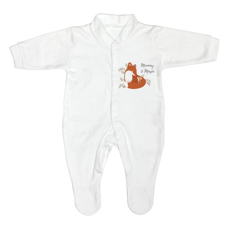 Personalised Mummy and Me Fox 0-3 Months Babygrow-Baby Clothing-Give Personalised Gifts
