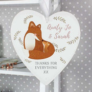 Personalised Mummy and Me Fox 22cm Large Wooden Heart Decoration-Home Decor-Give Personalised Gifts