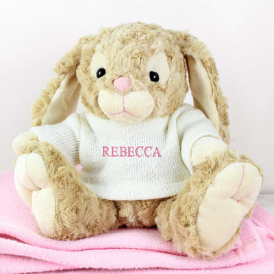 Personalised Name Only Bunny - Pink Embroidery-Teddies-Give Personalised Gifts