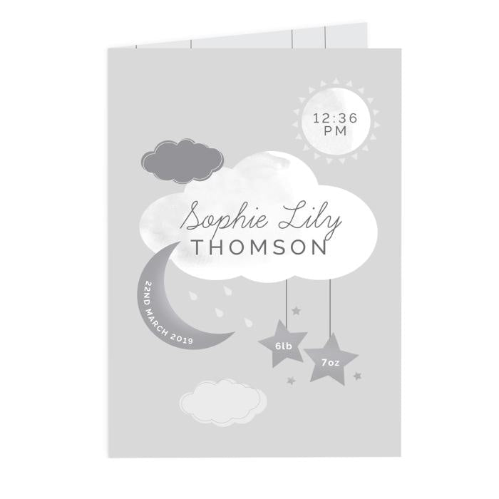 Personalised New Baby Moon & Stars Card-Personalised Cards-Give Personalised Gifts