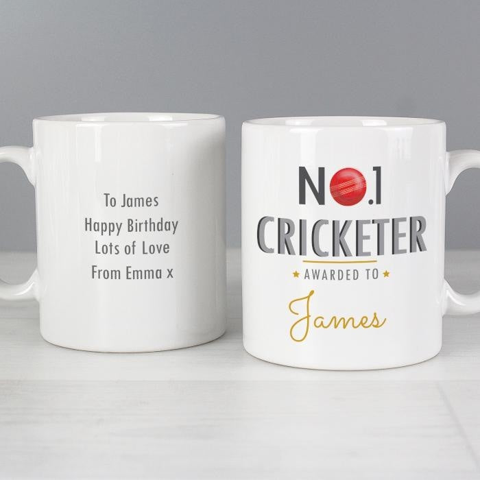 Personalised No.1 Cricketer Mug-Mugs-Give Personalised Gifts