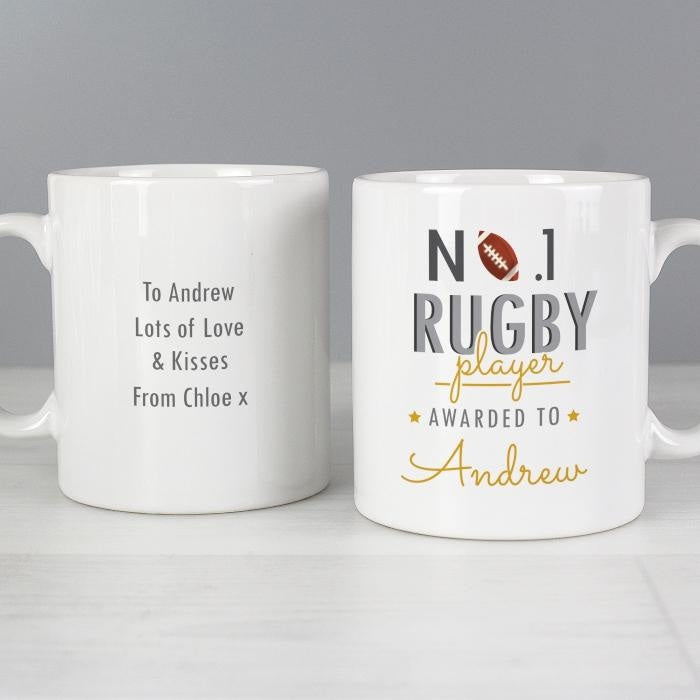 Personalised No.1 Rugby Player Mug-Mugs-Give Personalised Gifts