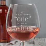 Personalised 'One Glass' Bottle of Wine Glass-Glassware-Give Personalised Gifts