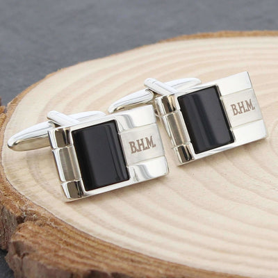 Personalised Onyx Cufflinks-Cufflinks-Give Personalised Gifts