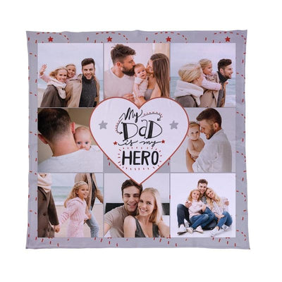 Personalised Photo Collage Fleece Blanket - Dad Hero