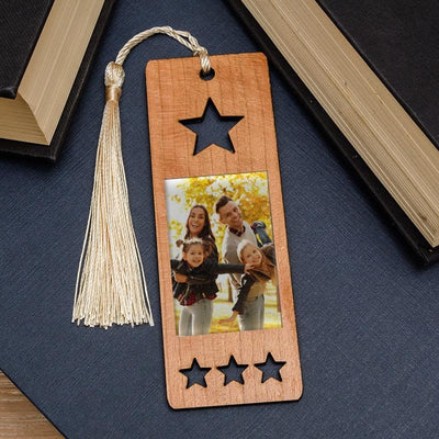 Personalised Photo Upload Star Wooden Bookmark-Bookmark-Give Personalised Gifts