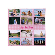 Personalised Pink Gingham - 12 Photos Collage Fleece Blanket