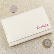 Personalised Pink Name Cream Leather Purse-Purse-Give Personalised Gifts