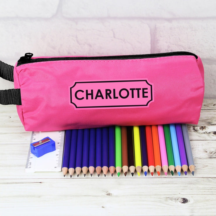 Personalised Pink Pencil Case and None Personalised Content