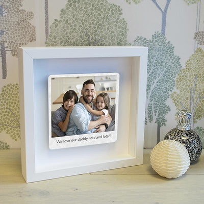 Personalised Poloroid Style Floating Metal Photo Box Frame - Any Message