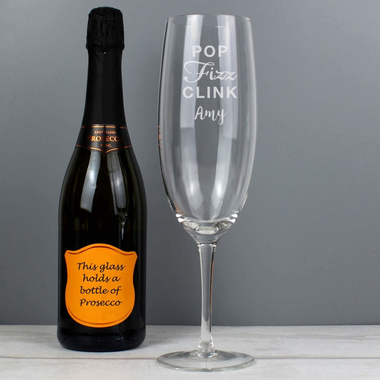 Personalised 'Pop Fizz Clink' Bottle Of Prosecco Glass-Glassware-Give Personalised Gifts