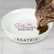 Personalised Princess Small Ceramic White Pet Bowl-Pet Bowl-Give Personalised Gifts