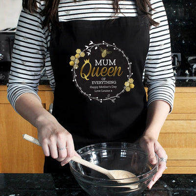 Personalised Queen Bee Black Apron-Apron-Give Personalised Gifts