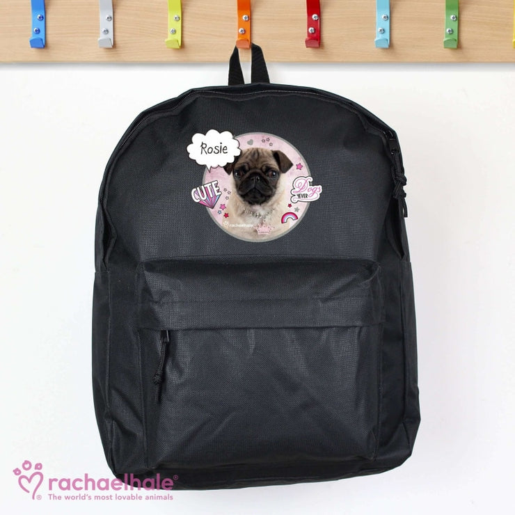 Personalised Rachael Hale Doodle Pug Black Backpack-Kids Backpack-Give Personalised Gifts