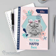 Personalised Rachael Hale 'Happy Face' Cat A5 Notebook-Notebook-Give Personalised Gifts