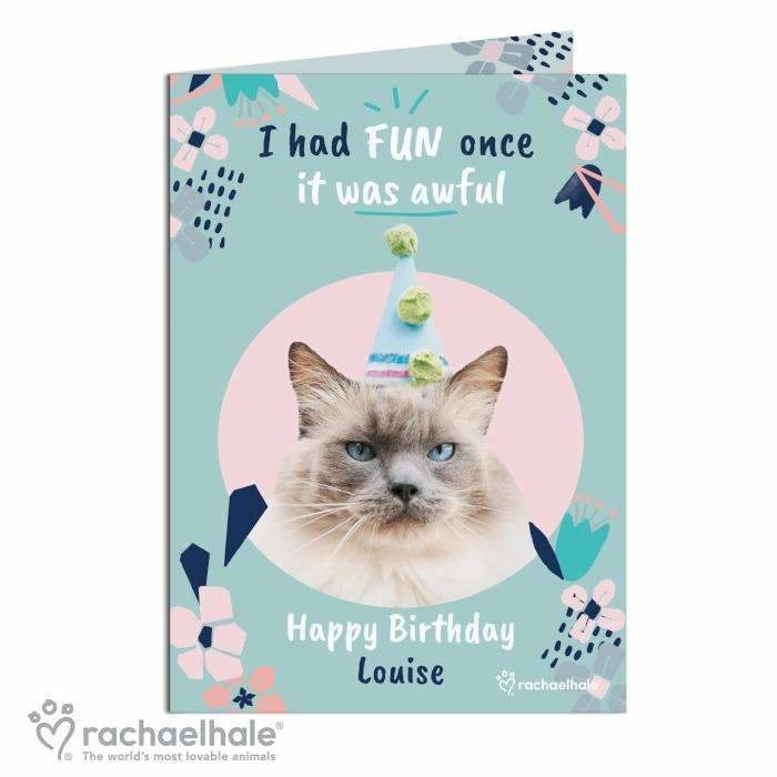 Personalised Rachael Hale 'I Had Fun Once' Cat Card-Personalised Cards-Give Personalised Gifts