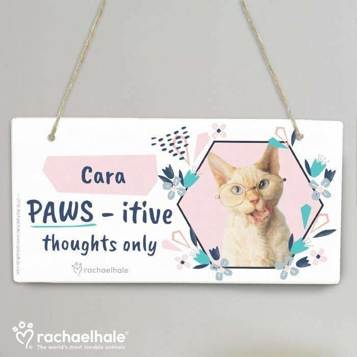 Personalised Rachael Hale 'PAWS - itive Thoughts Only' Cat Wooden Sign-House Sign-Give Personalised Gifts