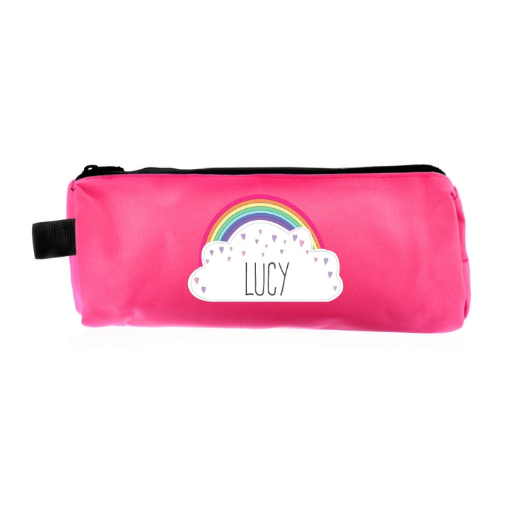 Personalised Rainbow Pink Pencil Case-Pen & Pencil Set-Give Personalised Gifts