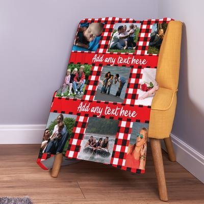 Personalised Red Gingham - 9 Photo Collage Fleece Throw Blanket-Blanket-Give Personalised Gifts