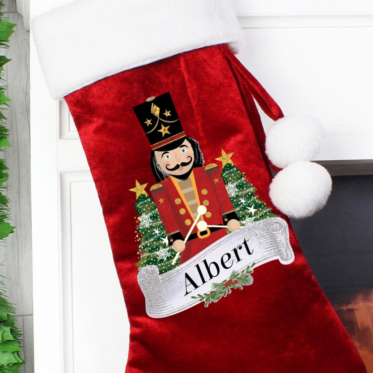 Personalised Red Nutcracker Christmas Stocking-Sacks & Stocking-Give Personalised Gifts