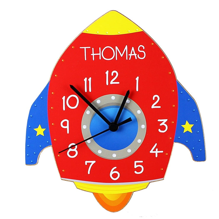 Personalised Rocket Shape Wooden Clock-Clock-Give Personalised Gifts