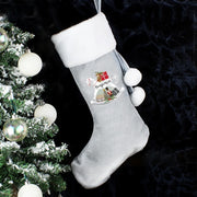 Personalised Rocking Horse Luxury Silver Grey Christmas Stocking-Sacks & Stocking-Give Personalised Gifts