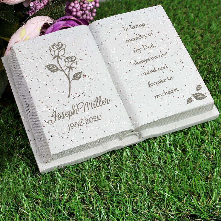 Personalised Rose Memorial Book-Memorials & Funerals-Give Personalised Gifts