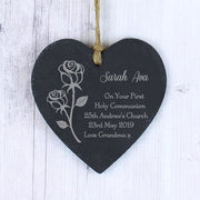 Personalised Rose Slate Heart Decoration-Hanging Decoration-Give Personalised Gifts