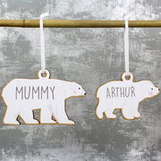 Personalised Set of Four Polar Bear Family Wooden Hanging Decorations-Hanging Decoration-Give Personalised Gifts