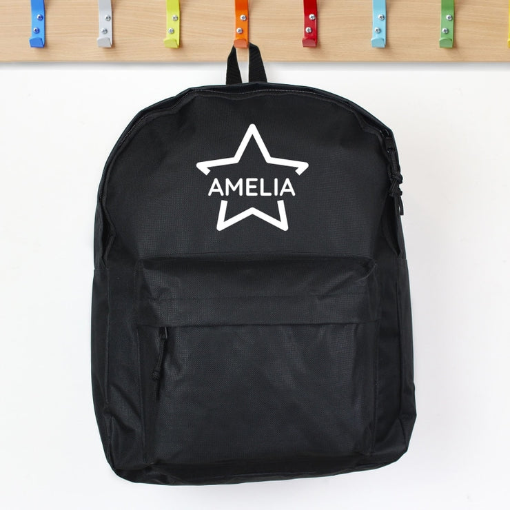 Personalised Star Black Backpack-Kids Backpack-Give Personalised Gifts