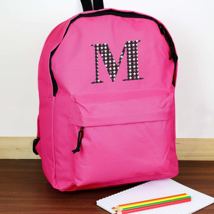 Personalised Star Initial Pink Backpack-Kids Backpack-Give Personalised Gifts