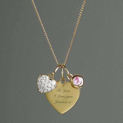 Personalised Sterling Silver & 9ct Gold Heart Necklace-Jewellery-Give Personalised Gifts