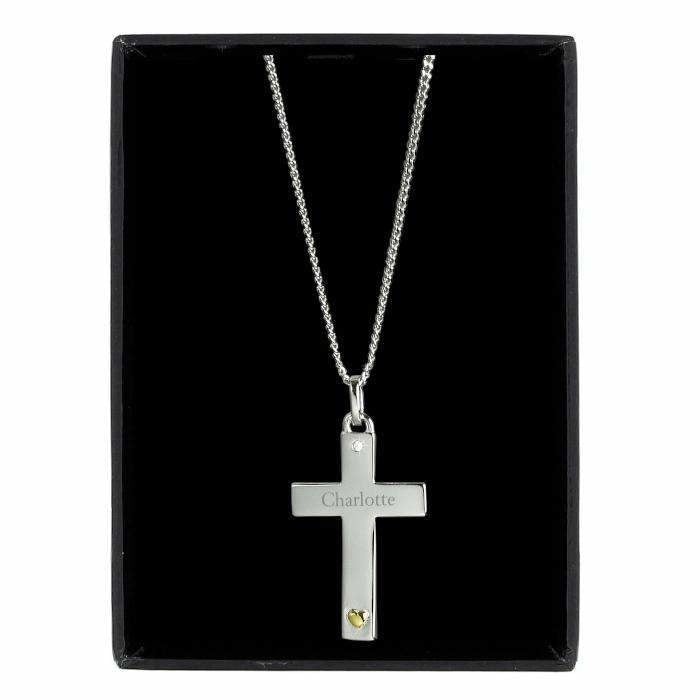 Personalised Sterling Silver Cross with 9ct Gold Heart & CZ Necklace-Jewellery-Give Personalised Gifts