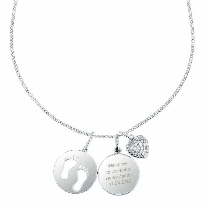 Personalised Sterling Silver Footprints and Cubic Zirconia Heart Necklace-Jewellery-Give Personalised Gifts