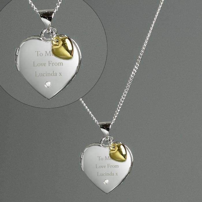 Personalised Sterling Silver, Gold & Diamond Heart Locket Necklace-Jewellery-Give Personalised Gifts
