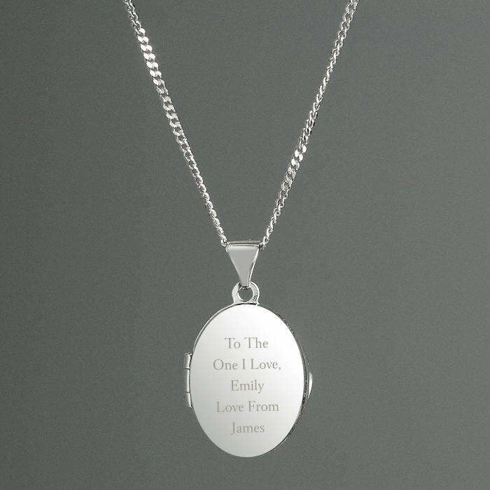 Personalised Sterling Silver Oval Locket Necklace-Jewellery-Give Personalised Gifts