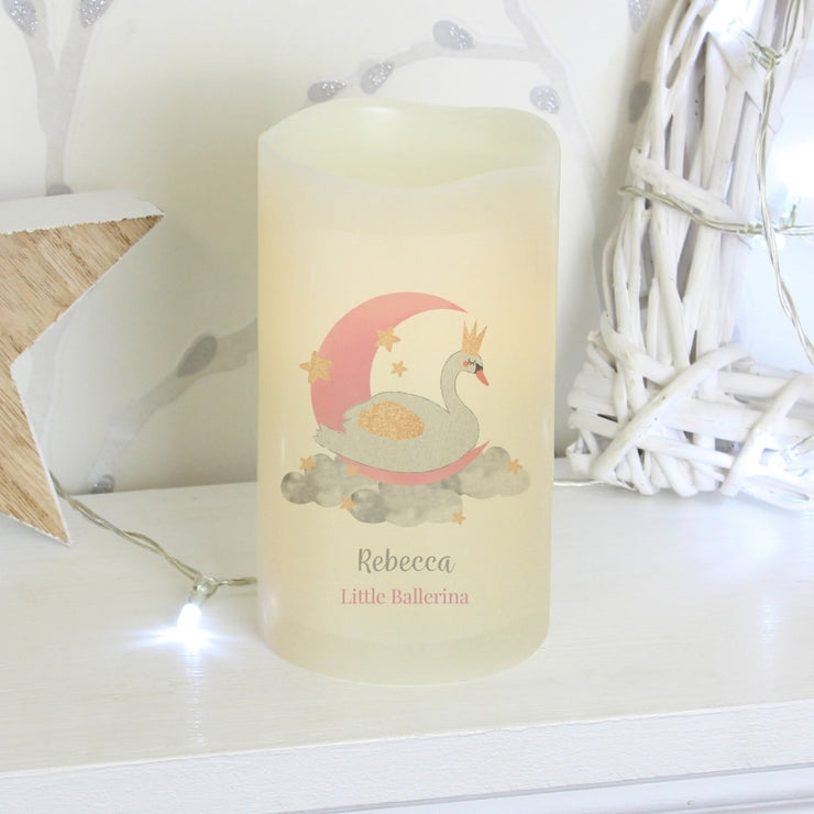 Personalised Swan Lake LED Candle-Candles & Holder-Give Personalised Gifts