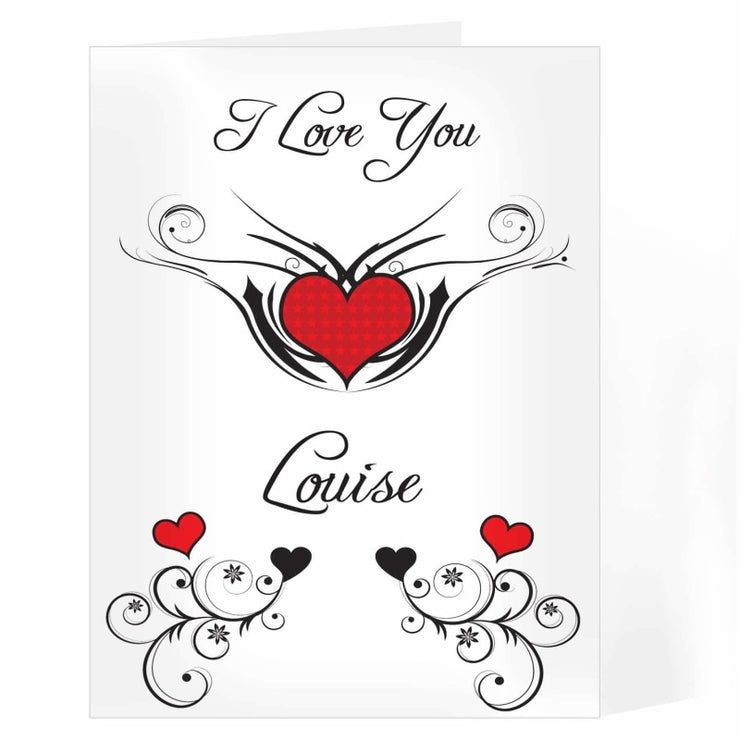 Personalised Tattoo Hearts Card-Personalised Cards-Give Personalised Gifts