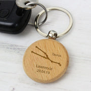 Personalised Taurus Zodiac Star Sign Wooden Keyring (April 20th - May 20th)-Keyring-Give Personalised Gifts