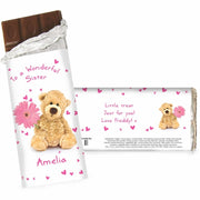 Personalised Teddy Flower Milk Chocolate Bar-Chocolate Bar-Give Personalised Gifts