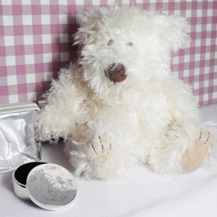 Personalised Teddy My First Curl Trinket Box-Trinket Box-Give Personalised Gifts