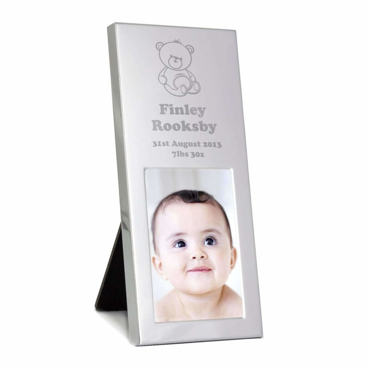 Personalised Teddy Small Silver 2x3 Photo Frame-Photo Frame-Give Personalised Gifts