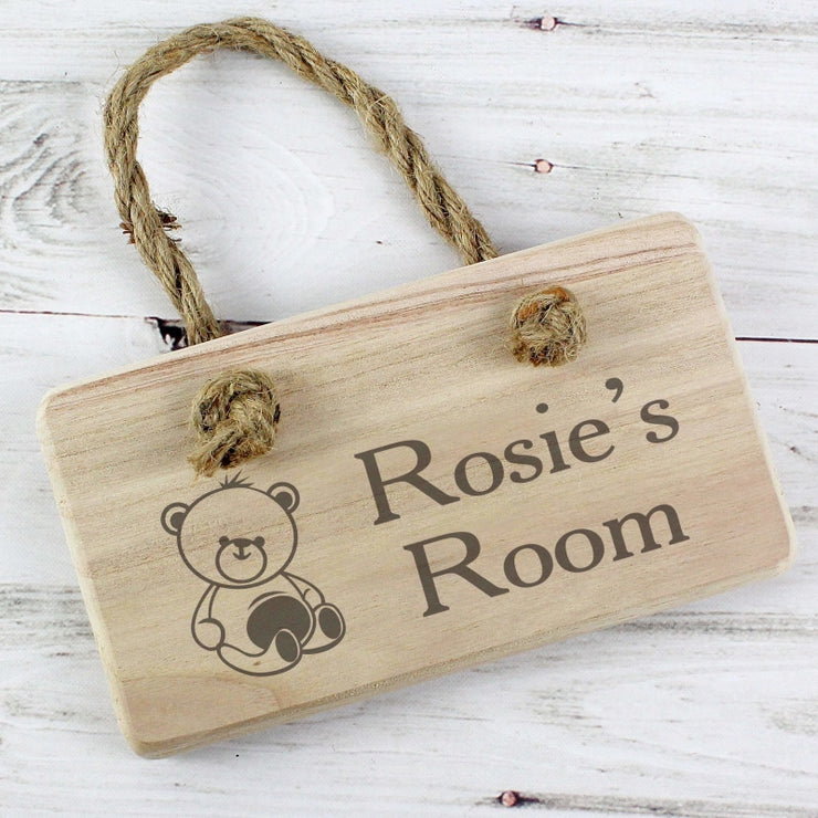 Personalised Teddy Wooden Sign-Signs-Give Personalised Gifts