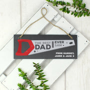 "Personalised ""The Best Dad Ever Saw"" Printed Hanging Slate Plaque-Canvases & Plaques-Give Personalised Gifts"