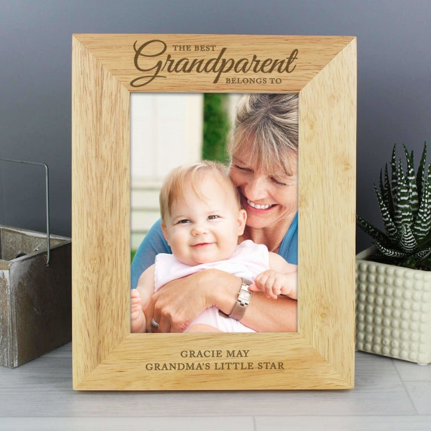 Personalised 'The Best Grandparent' 5x7 Wooden Photo Frame-Photo Frame-Give Personalised Gifts