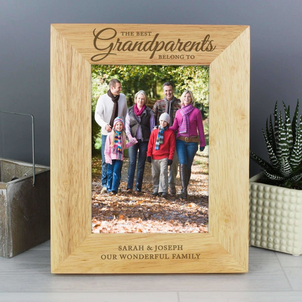 Personalised 'The Best Grandparents' 5x7 Wooden Photo Frame-Photo Frame-Give Personalised Gifts